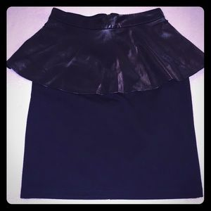 Faux leather peplum fitted skirt